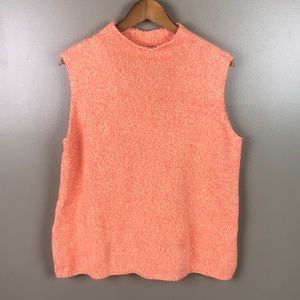 TALBOTS Sleeveless Knit Sweater Orange Yellow Yarn